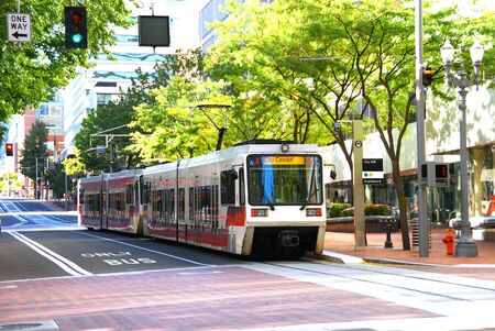 Downtown mass transit and buildings in Portland Oregon