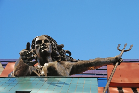 Portlandia by Raymond J Kaskey atop the Portland Building.  Lady of the Trident was dedicated in 1985 and is a the icon of Portland Oregon, September 09, 2009 Editorial