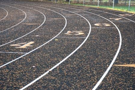 Rounding the curve of the Roseburg High School Track in Roseburg Oregon