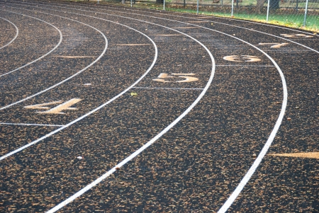 Rounding the curve of the Roseburg High School Track in Roseburg Oregon