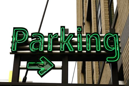 cars parking: large underground parking garage in the old town area of Portland Oregon Stock Photo