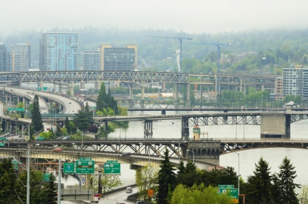 eastbank: Bridgetown or downtown Portland Oregon lookg from the convention center south