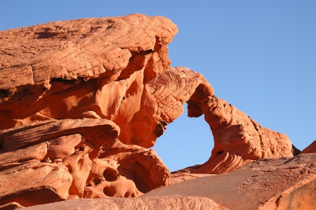 protectorate: Natural Arch formation in Sandstone rock in the Valley of Fire State Park, North East of Las Vegas, NV