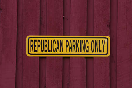 walled: Republican Parking Only sign on a red walled building