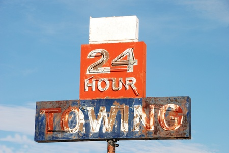 24 Hour Towing Sign outside of Ron's Towing at Rice Hill Oregon
