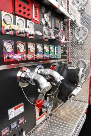 Large fire truck and pump or engineer panel