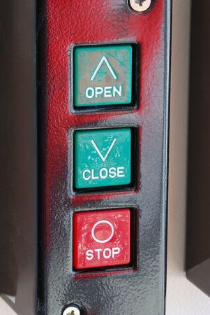 public safety: Fire department apparatus bay door wall mounted door opener control in the new Public Safety Center in Roseburg Oregon Stock Photo