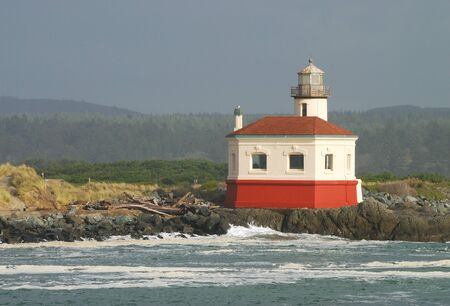 coquille: Coquille River Lighthouse built in 1896, is a 47 foot tower guided boats up the mouth of the Coquille River, in Bandon Oregon