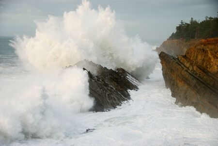 billow: Heavy ocean surf action on the rocks off of Shore Acres State Park near Charleston Oregon