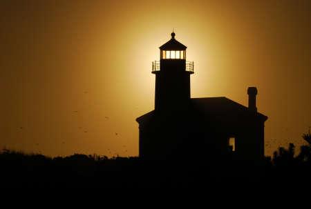 coquille: Coquille River Lighthouse at Bullards Beach near Bandon Oregon druing a winter sunset Stock Photo