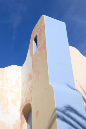 Modern Mexican Architecture and Blue Sky at a small shopping mall in Cabo San Lucas, Mexico