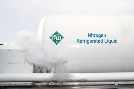 Refilling the Liquid Nitrogen Storage Tank at Douglas Welding Supply, Roseburg Oregon Stock Photo - 15387549