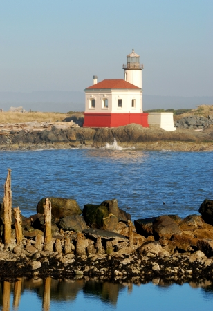 coquille: Coquille River Lighthouse, also called Bandon Light, in Bullards Beach State Park.  Built in 1896, Stock Photo