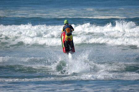 jet skier: Jet Skier enjoying the surf at Cape Kiwanda, Near Pacific City, Oregon, Cape Kiwanda State Park Stock Photo