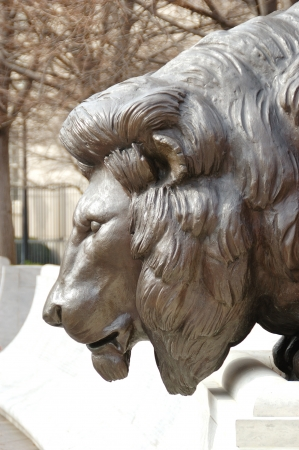 Male lion sculpture at the National Law Enforcement Officers Memorial in Washington DC, February 27, 2006 photo