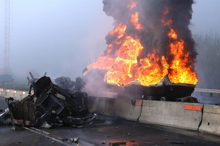 mva: Truck carrying 10,000 gals of fuel wrecked into construction divider