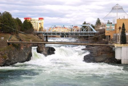 Spokane Falls in downtown Spokane WA at Riverside Park  Stock Photo