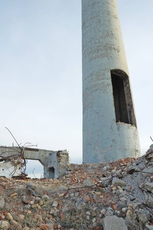 Old mill smoke stack at demolished mill site, Burns   Hines Oregon