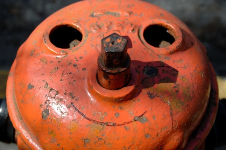 nob hill:  Fire Hydrant Happy Face  Image from the 23rd Street area in Nob Hill part of Portland OR Stock Photo