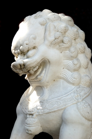 nob hill:  Chinese Lion in Shadow  Outside oriental store in the 23rd Street area in Nob Hill part of Portland OR Stock Photo