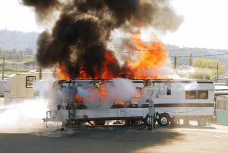 Well involved fire in a travel trailer being used as a residence in a trailer park, 4 people left homeless due to space heater too close to combustibles. Roseburg, Oregon, April 4th 2008 Editorial