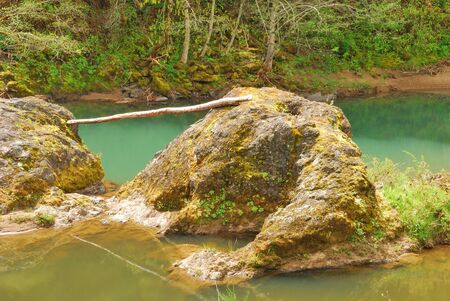 glide: A log spanning two large rocks on an island in Little River near Glide OR   Little River joins the North Umpqua at Glide at Colliding Rivers Park Stock Photo