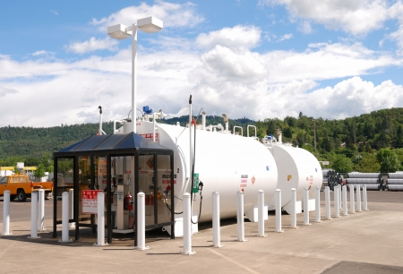 Roseburg City Fuel Station  Above ground fuel storage tanks at Roseburg OR Public Works Building