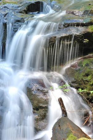 cascade range: Small Waterfall on East Fork Coquille River near Sitkum OR off of Coos Bay Wagon Road  Stock Photo