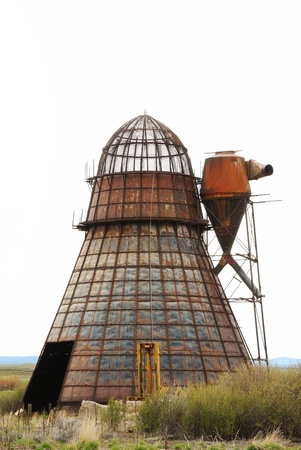 lumber mill: Old Wigwam burner at a old lumber mill site in Seneca Oregon along State Hwy 395 just south of John Day