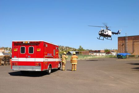 Airlife Helicopter and Patien transfer at a Klamath Falls Shoot for Haz Mat Outreach Video  Simulated Ammonia leak at a facility with A level Entry