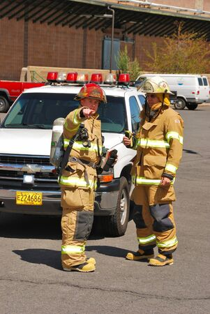 Command operations at a Klamath Falls Shoot for Haz Mat Outreach Video  Simulated Ammonia leak at a facility with A level Entry  Editorial