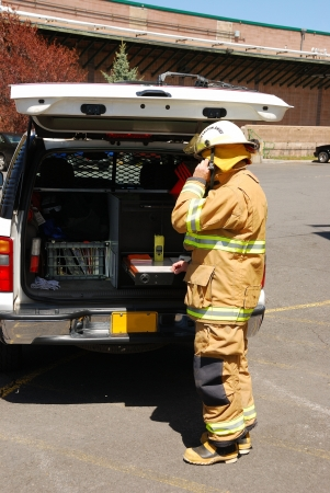 klamath: Command operations at a Klamath Falls Shoot for Haz Mat Outreach Video  Simulated Ammonia leak at a facility with A level Entry  Editorial