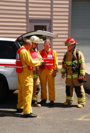 haz: Command operations at a Klamath Falls Shoot for Haz Mat Outreach Video  Simulated Ammonia leak at a facility with A level Entry  Editorial