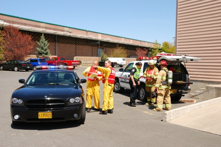 Command operations at a Klamath Falls Shoot for Haz Mat Outreach Video  Simulated Ammonia leak at a facility with A level Entry