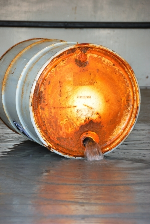 Leaking Barrel from bung at a a Hazardous Materials Drill Stock Photo