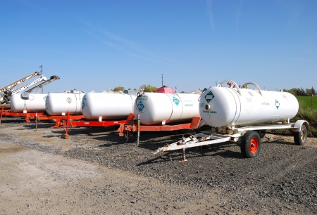 Anhydrous Ammonia transport tanks outside a chemical and fertilizer company in Klamath Falls OR Editorial