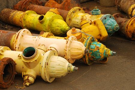 metal scrap: Old fire hydrants destined for the scrap yard at city public works shop