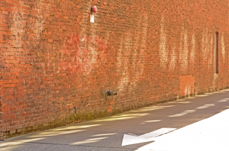 eugene: A brick alley way in the historic downtown area of Eugene Oregon