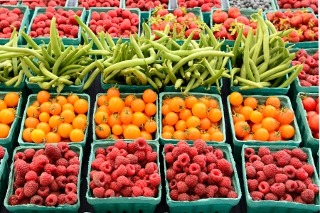 farmers market:  A vendor sales fresh organic berries at a local farmers market in Oregon