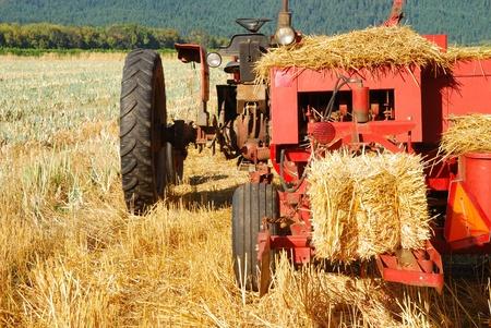 baler: Old style hay baler in a wheat straw field in Umpqua Oregon Stock Photo