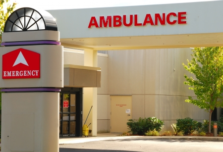 building safety: Emergency room entrance to a hospital Stock Photo