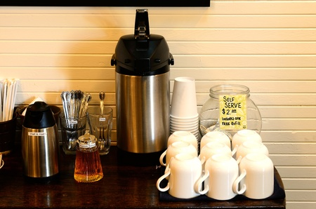셀프 커피 봉사 스톡 콘텐츠