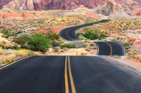 nevada: A road runs through it in the Valley of Fire State Park near Las Vegas Nevada Stock Photo