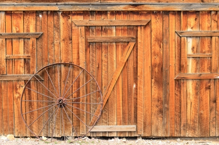 western usa: Old building livery stable wall in a small rural western town