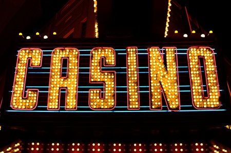 las: An old fashioned casino sign in the downtown area of Las Vegas Nevada