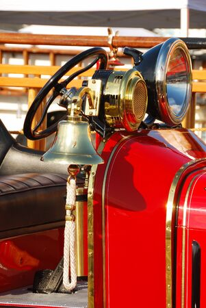 antique fire truck: Old fire engine at a Fire and emergency services week in Roseburg Oregon