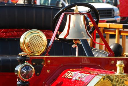 antique fire truck: Oldf fire engine at a Fire and emergency services week in Roseburg Oregon