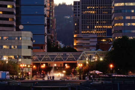 eastbank: Portland waterfront and fountain along the Naito Parkway
