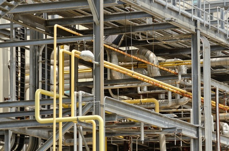 tear duct: steel and pipe work of a smoke pollution scrubber that is being dismanted after the plant shut down Stock Photo