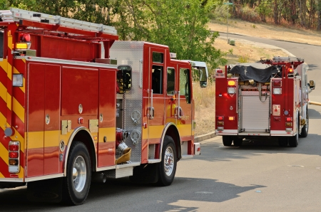 Roseburg, Oregon - July 31, 2013: Fire fighters respond to a structure fire in a residence that caused major interior damage.  No body was injured in the Roseburg, Oregon incident on July 13, 2013